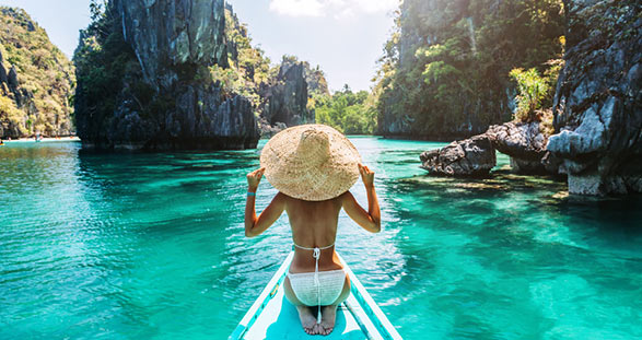 Escort girl on a boat in Palawan