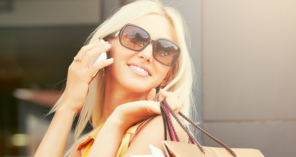 Blond Escort shopping in Munich